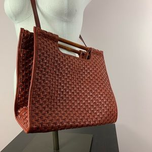 Fossil woven straw bag rust red